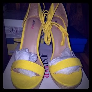 Womens yellow wedge heels